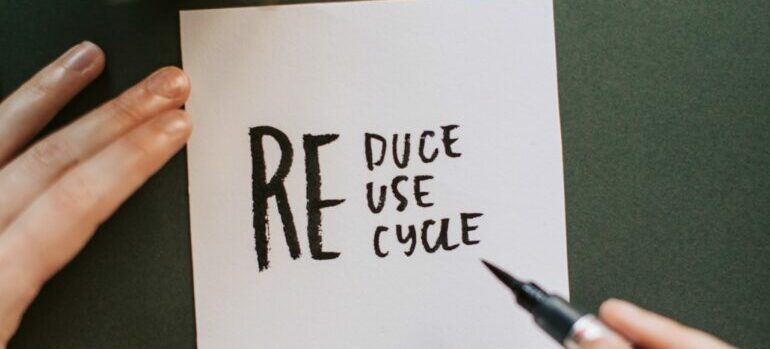 recycle written in a notebook